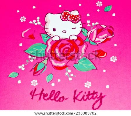 ZAGREB , CROATIA - NOVEMBER 24 , 2014 :  Hello kitty children cartoon character printed on card ,product shot - stock photo