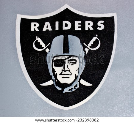 ZAGREB , CROATIA - NOVEMBER 22 , 2014 :  NFL Oakland Raiders logo printed on textile equipment ,product shot