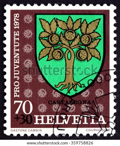 ZAGREB, CROATIA - OCTOBER, 2015: a stamp printed in Switzerland shows Castasegna, Communal Arms, circa 1978 - stock photo