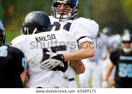 ZAGREB, CROATIA - OCTOBER 24: American football game in Croatian league between Cannons and Riders on October 24, 2010 in Zagreb, Croatia