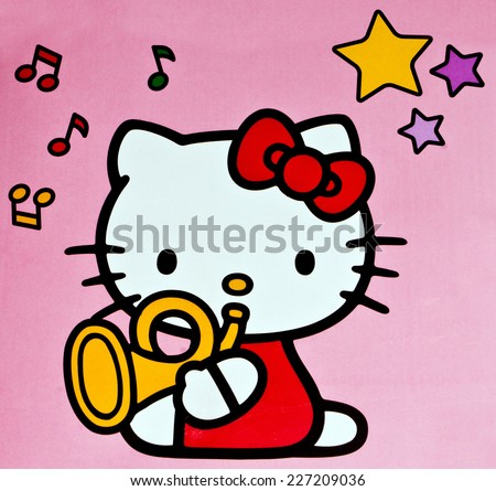 ZAGREB , CROATIA - OCTOBER 31 , 2014 :  children toy character Hello Kitty printed on box ,product shot - stock photo