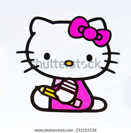 ZAGREB , CROATIA - OCTOBER 24 , 2014 :  children toy character Hello Kitty printed on box ,product shot - stock photo