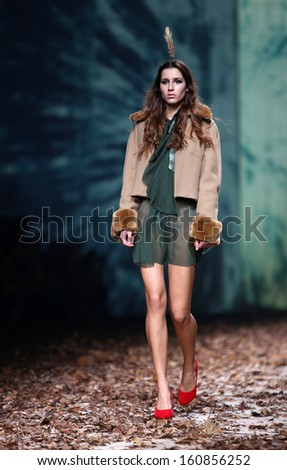 ZAGREB, CROATIA - OCTOBER 26: Fashion model wearing clothes designed by Twins by Begovic and Stimac on the Cro a Porter show on October 26, 2013 in Zagreb, Croatia.