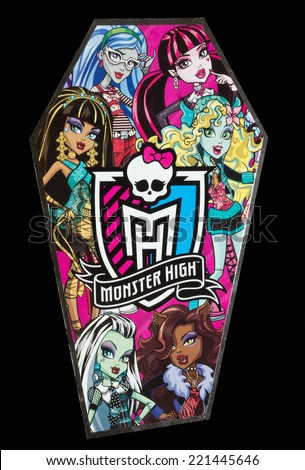 ZAGREB , CROATIA - OCTOBER 4 , 2014 :  Monster high children toy brand logo printed on box, product shot - stock photo