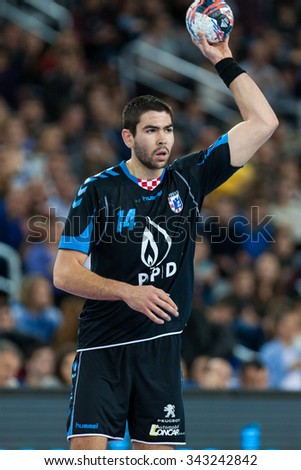 ZAGREB, CROATIA - SEPTEMBER 21, 2015: EHF Men's Champions League, Group (A) phase. Match between HC Zagreb PPD and HC Flensburg-Handewitt. SEBETIC Luka (14)