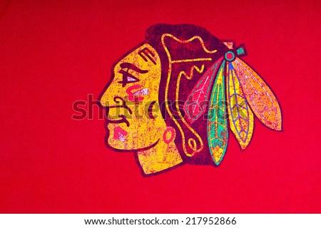 ZAGREB , CROATIA - SEPTEMBER 17 , 2014 :  NHL Chicago Blackhawks club equipment logo printed on textile, product shot - stock photo