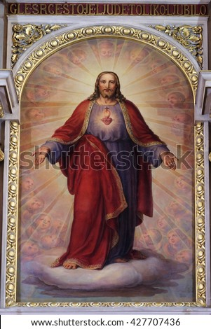 ZAGREB, CROATIA - SEPTEMBER 14: Sacred Heart of Jesus, altarpiece in Basilica of the Sacred Heart of Jesus in Zagreb, Croatia on September 14, 2015 - stock photo