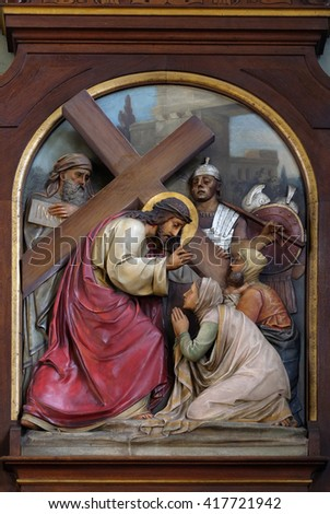 ZAGREB, CROATIA - SEPTEMBER 14: 8th Stations of the Cross,Jesus meets the daughters of Jerusalem, Basilica of the Sacred Heart of Jesus in Zagreb, Croatia on September 14, 2015