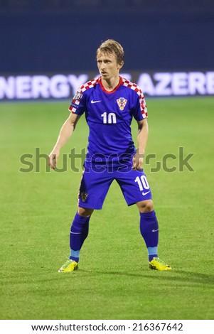ZAGREB, CROATIA - SEPTEMBER 9, 2014: UEFA European Championship 2016 qualifiers in Group H - Croatia VS Malta. Luka MODRIC (10) - stock photo