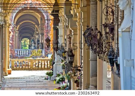 Zagreb mirogoj cemetary arcades view, capital of Croatia - stock photo