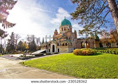 Zagreb mirogoj cemetary monumental architecture, Croatia - stock photo