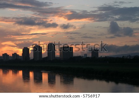 Zagreb skyline on river Sava bank - stock photo