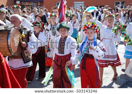 Zakarpattia, UKRAINE - September 4, 2011: Children in costumes at the festival Ukrainian Hutsul cheese