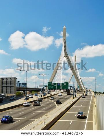 Zakim Bridge, Boston - stock photo