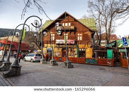 ZAKOPANE - NOVEMBER 16: Gazdowo Kuznia Restaurant in the building of former Pod Giewontem Hotel launched by Romuald Kulig in 1885, until 1898 the biggest hotel in Zakopane, Poland on November 16, 2013