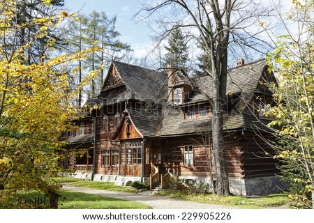 ZAKOPANE, POLAND - OCTOBER 16, 2014: Koliba, first house built in the years 1892-1893 in the Zakopane style designed by Stanislaw Witkiewicz, at present Zakopane Style Museum  - stock photo