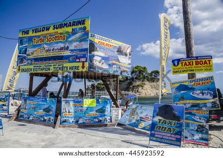 ZAKYNTHOS, GREECE - CIRCA AUGUST, 2015 - Advertising the turtles in Cameo Island, Laganas, Zante