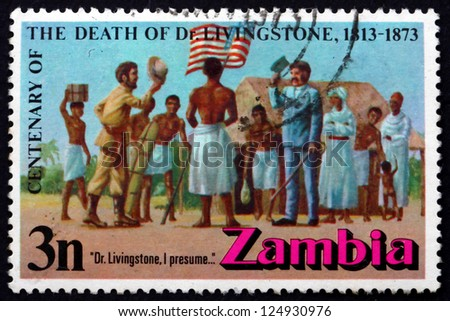 ZAMBIA   CIRCA 1973: A Stamp Printed In The Zambia Shows Meeting Of Stanley  And  Doctor Livingstone I Presume