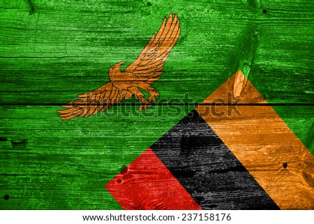 Zambia Flag painted on old wood plank texture - stock photo
