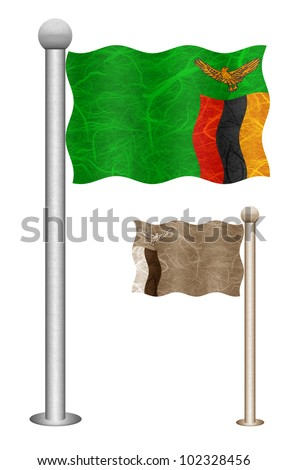 Zambia flag waving on the wind. Flags of countries in Africa. Mulberry paper on white background. - stock photo