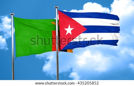 Zambia flag with cuba flag, 3D rendering