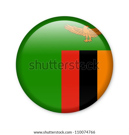 Zambia - glossy button with flag - stock photo
