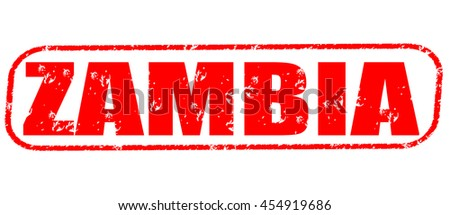 zambia red stamp on white background.