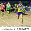 ZAPORIZHIA, UKRAINE - JAN 27: Kits Volodimir wins the 1,500 meters race with the result 3.47.94 during the Ukrainian Cup in Athletics on January 27, 2012 in Zaporizhia, Ukraine. - stock photo
