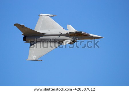ZARAGOZA, SPAIN - MAY 20,2016: French Navy Dassault Rafale fighter jet flyby on a blue sky - stock photo