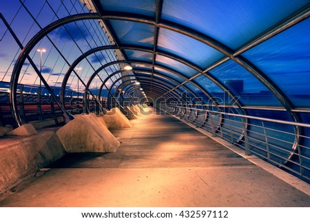 Zaragoza, Spain - May 23, 2016: Third millennium bridge at night. This bridge was built in 2008 for the international EXPO - stock photo
