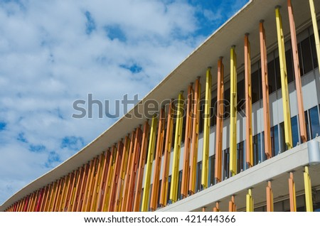 Zaragoza, Spain - September 15, 2015: Close up of modern building wall. Architectural texture background. Concrete and glass house. Detail of expo pavillion in city Zaragoza, Spain. - stock photo