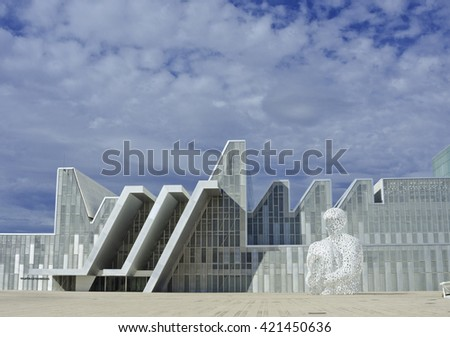 Zaragoza, Spain - September 15, 2015: Modern white buildings and sculpture. Architectural background. Concrete and glass house. Detail of expo pavillion in city Zaragoza, Spain. - stock photo