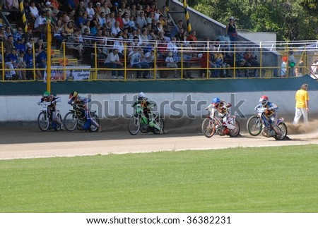 ZARNOVICA, SLOVAKIA - AUGUST 30: Racers  race in the Golden helmet SNP August 30, 2009 in Zarnovica, Slovakia.