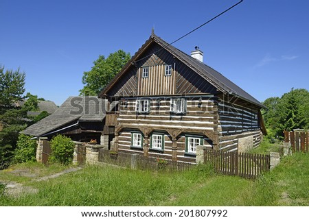 ZDAR, CZECH REPUBLIC-JUNE 7: Wooden House of village conservation community Zdar on June 7, 2014. Zdar is part of town Doksy, district of Czech Lipa, located in the Protected Landscape Area Kokorinsko