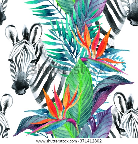 Zebra and exotic flowers. Watercolor jungle seamless pattern. Hand painted illustration with zebra on white background for your design. - stock photo