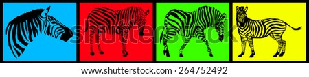 Zebra collection on colored background - stock photo