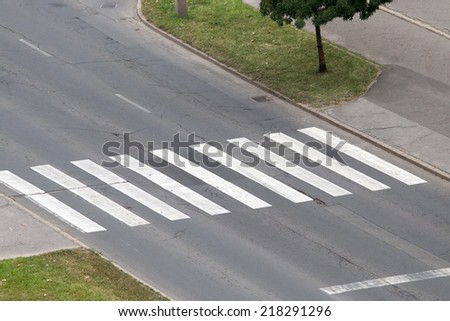zebra crossing from above - stock photo