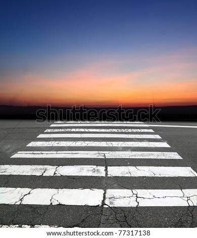 zebra crossing road - stock photo
