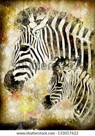 zebra grunge - stock photo
