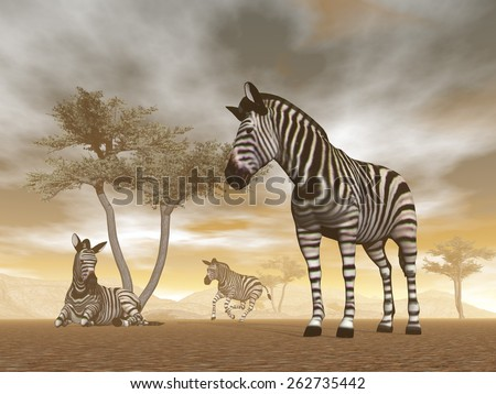 Zebra herd with baby and umbrella acacias in the savannah - 3D render - stock photo