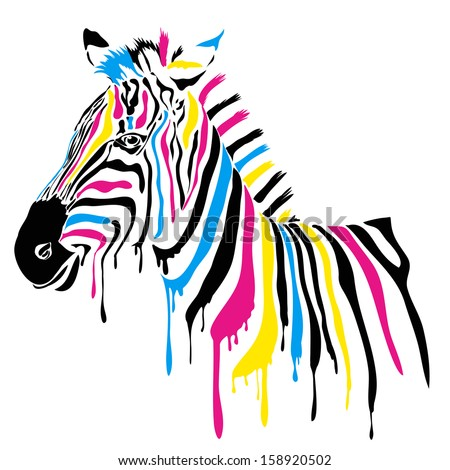 Zebra with colored stripes - stock photo