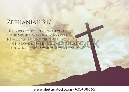 Zechariah vintage bible verse background on one cross on a hill