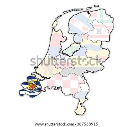 Zeeland Flag On Map Borders Provinces Stock Illustration 387568915