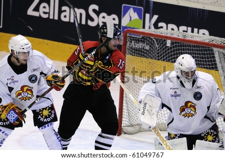 ZELL AM SEE, AUSTRIA - SEPTEMBER 3: Red Bulls Salute Tournament. Brett McLean (15) in front of Jokerit Goal. Game Jokerit Helsinki vs. SC Bern (Result 0-2) on September 3, 2010 in Zell am See - stock photo
