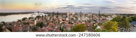 Zemun and Belgrade panorama, Serbia - stock photo