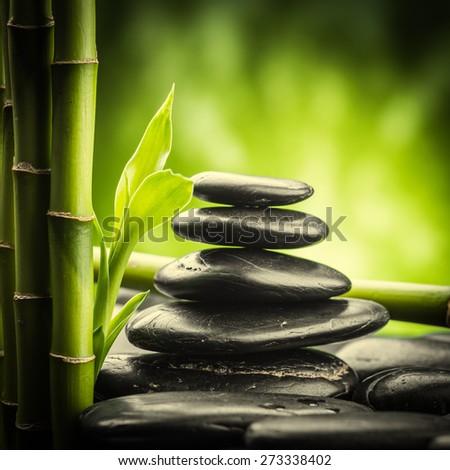 zen basalt stones and bamboo  - stock photo