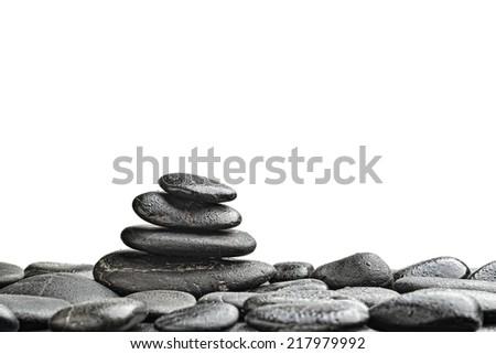 zen basalt stones and bamboo isolated on white - stock photo