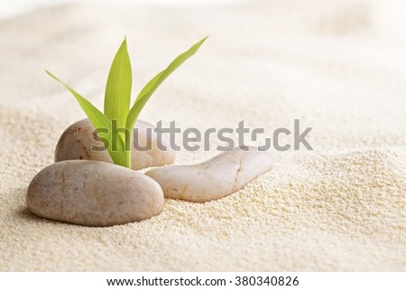 zen basalt stones and bamboo on the sand - stock photo