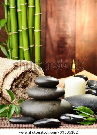 zen basalt stones and bamboo on the wood