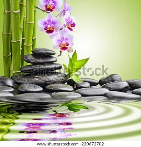 zen basalt stones and orchid. focus on the orchid - stock photo